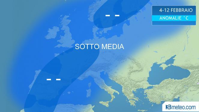 sotto media termico atteso per la prima decade di Febbraio in Europa