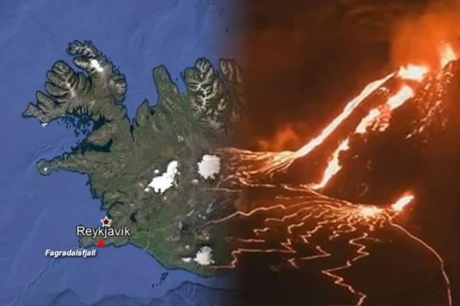 Spettacolare eruzione in Islanda vicino la Capitale Reykjavik