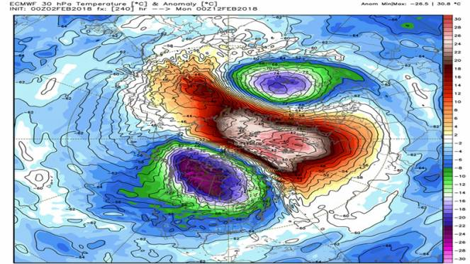 split termico del vortice polare a metà Febbraio