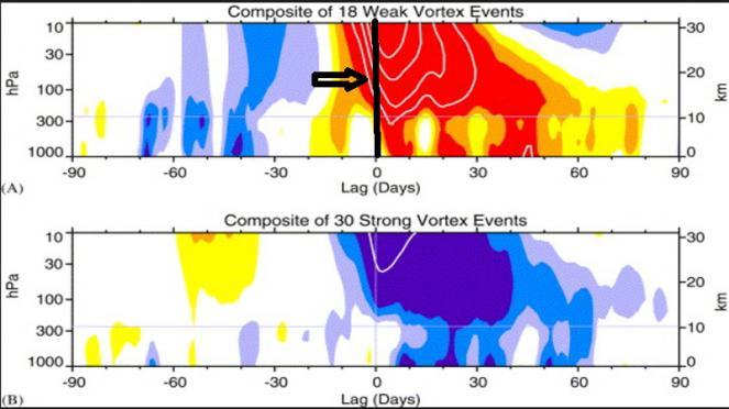 statistica vortice polare dopo eventi stratosferici