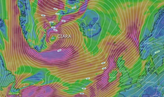 Super ciclone Ciara, il più forte degli ultimi anni