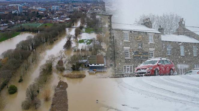 Super tempesta Bella porta alluvioni e neve in Europa