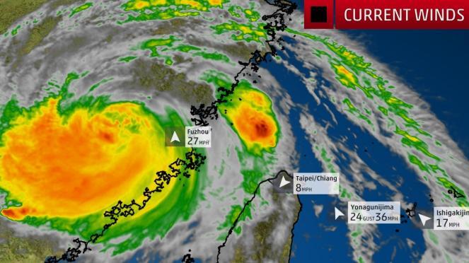Super tifone Maria impatta sulla Cina dopo aver colpito Taiwan