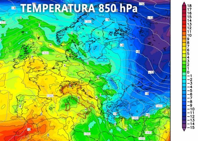 Temperatura 850 hPa prevista per oggi