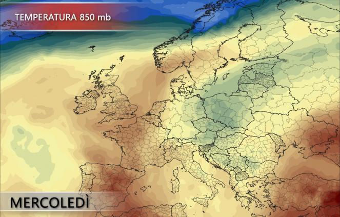 Temperatura 850 mb per mercoled' 27/06/2018 - pivotalweather.com