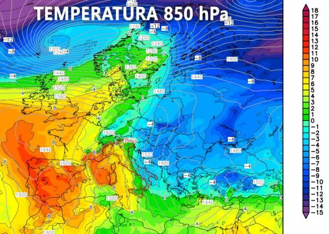 Temperatura prevista 31 dicembre a 850 hPa