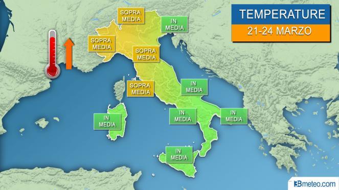 Temperature 21-24 marzo, sopra media al Nord e centrali tirreniche, in media altrove