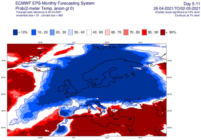 temperature a 2m secondo ecmwf, valori sotto media possibili