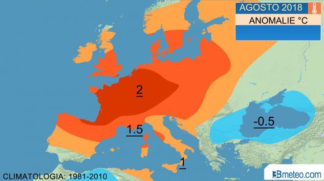 temperature, anomalie attese agosto 2018