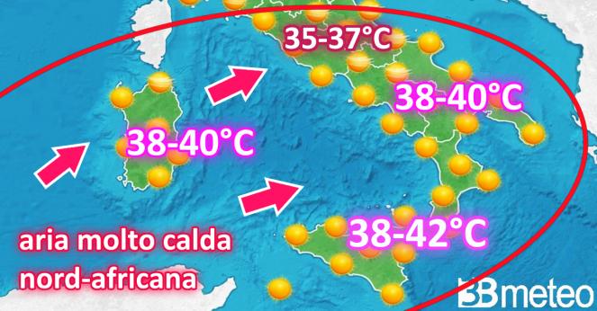 Temperature attese nella prossima settimana