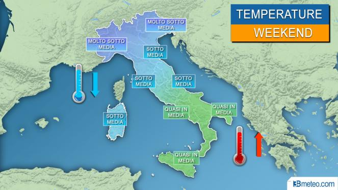 temperature del weekend rispetto alle medie stagionali