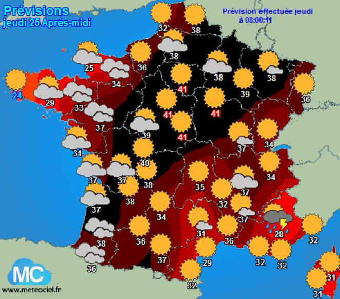 Temperature fino a 41°C previste per giovedì in francia (fonte meteociel.fr)