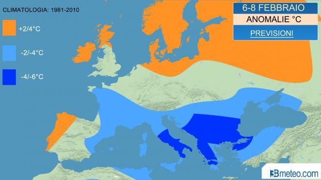 temperature in calo e fase sotto media per l'Europa meridionale
