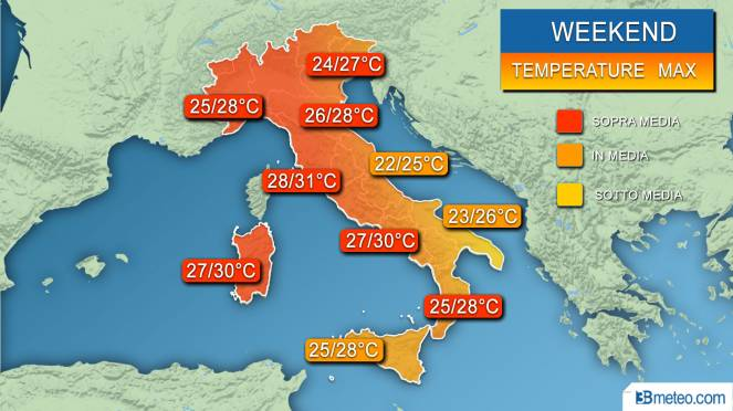 Temperature massime attese nel weekend