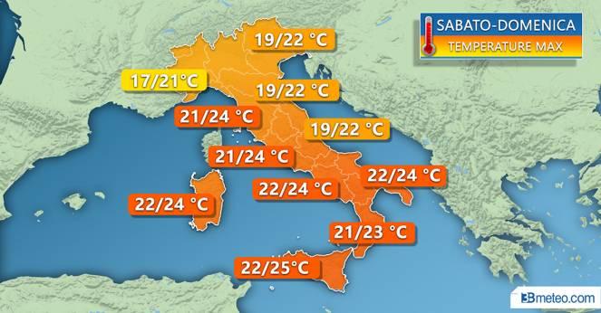 Temperature massime attese per il weekend