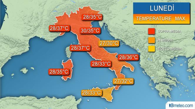 Temperature massime attese per lunedì