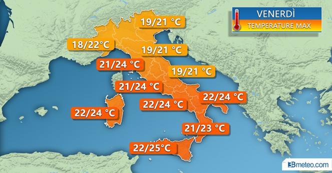 Temperature massime attese per venerdì