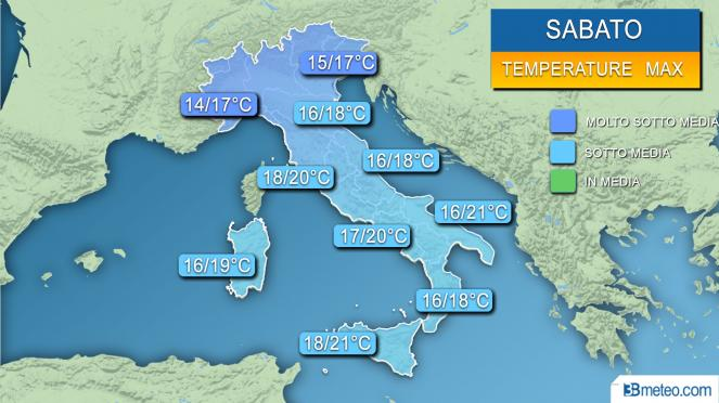 Temperature massime attese sabato