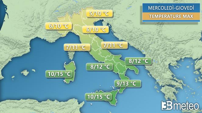 Temperature massime attese tra mercoledì e giovedì