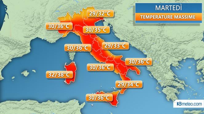 Temperature massime di martedì