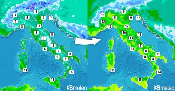 Temperature massime di mercoledì 20 e quelle previste per sabato 23 dicembre