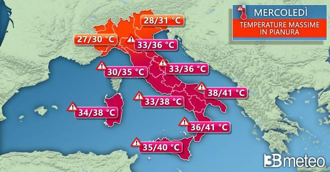 Temperature massime di mercoledì