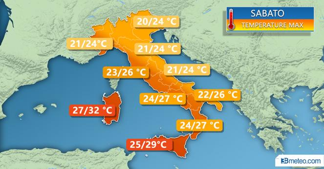 Temperature massime di sabato