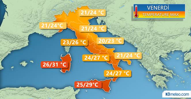 Temperature massime di venerdì