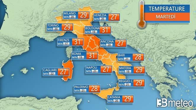 Temperature massime e minime per martedì
