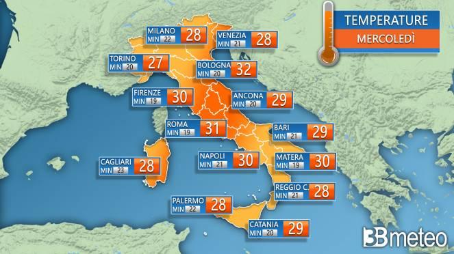 Temperature massime e minime per mercoledì
