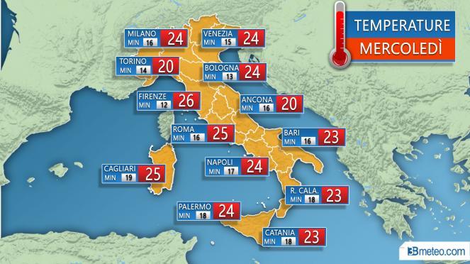 Temperature massime e minime previste nelle principali città Mercoledì