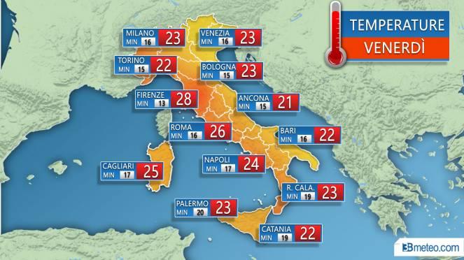 Temperature massime e minime previste nelle principali città Venerdì