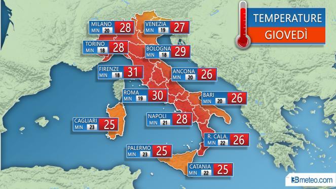 Temperature massime e minime previste per Giovedì 20 Settembre