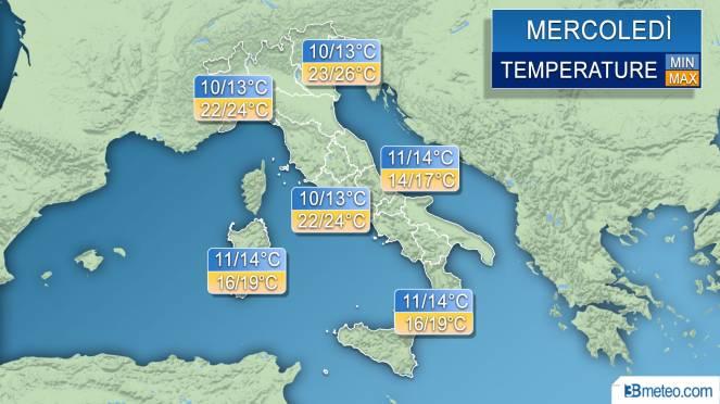 Temperature massime e minime previste per Mercoledì 18 Aprile