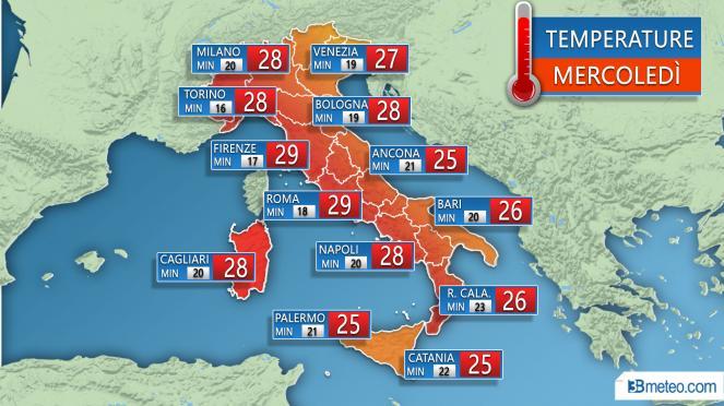 Temperature massime e minime previste per Mercoledì 19 Settembre