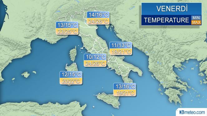 Temperature massime e minime previste per Venerdì 20 Aprile