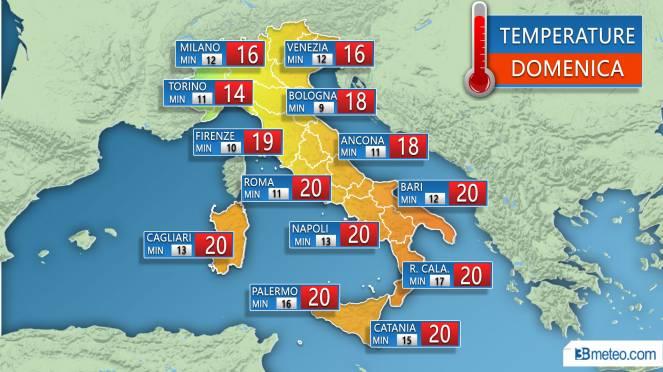 Temperature massime e minime previste sulle principali città Domenica