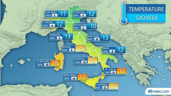 Temperature massime e minime previste sulle principali città in Italia nella giornata di giovedì