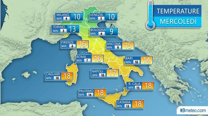 Temperature massime e minime previste sulle principali città in Italia nella giornata di mercoledì
