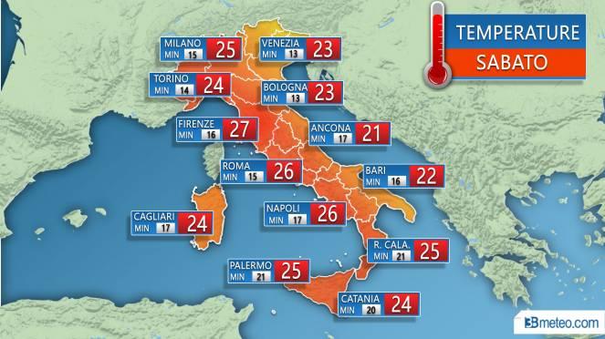 Temperature massime e minime previste sulle principali città nella giornata di sabato