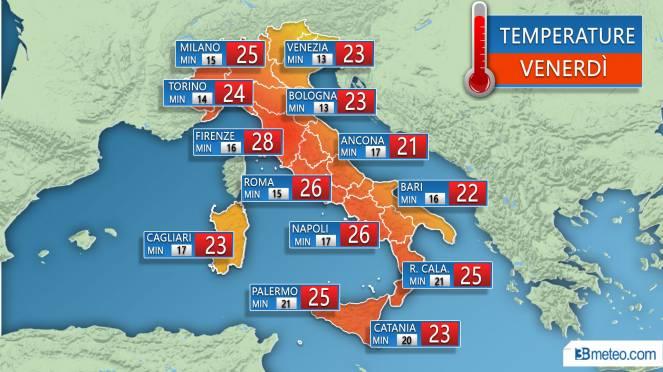 Temperature massime e minime previste sulle principali città nella giornata di venerdì