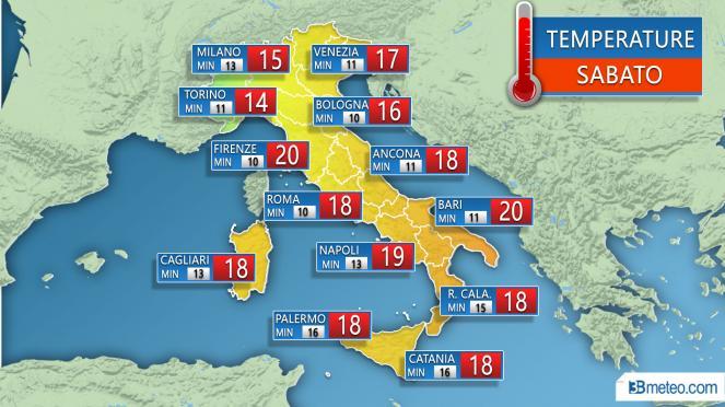 Temperature massime e minime previste sulle principali città Sabato