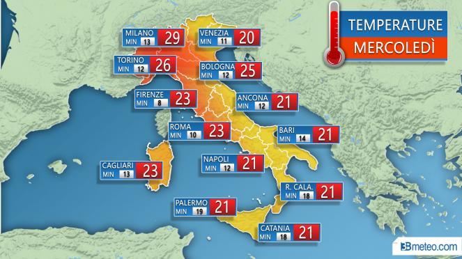 Temperature massime e minime sulle città attese Mercoledì