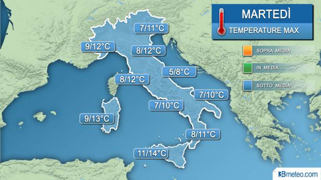 Temperature massime martedì