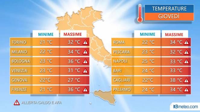 Temperature massime nelle principali città giovedì