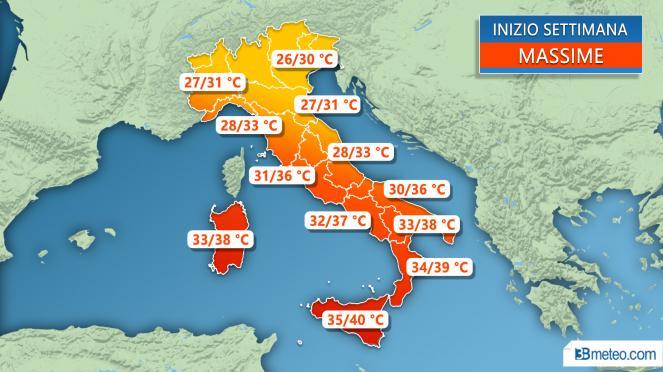Tanti TEMPORALI al Nord, locali in Toscana, ancora caldo al Sud