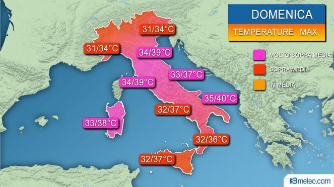 Temperature massime previste domenica
