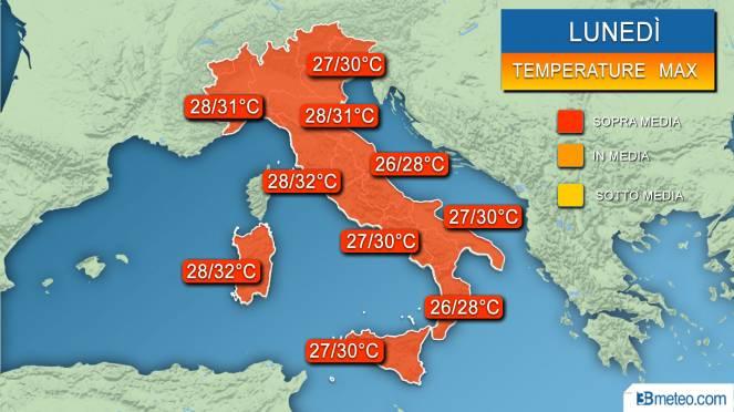 Temperature massime previste lunedì