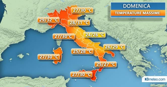 Temperature massime previste per domenica