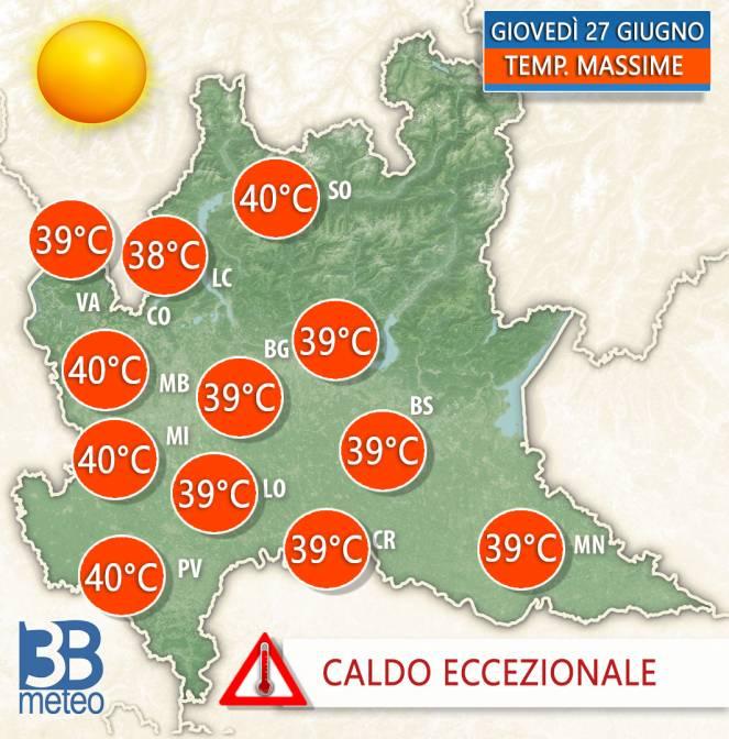 Temperature massime previste per giovedì 27 giugno